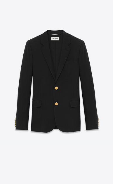 SAINT LAURENT Blazer Jacket U CLASSIC CROPPED BLAZER IN Black virgin WOOL GABARDINE a_V4