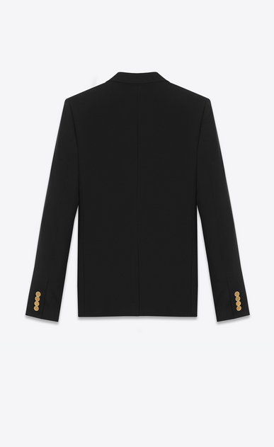 SAINT LAURENT Blazer Jacket U CLASSIC CROPPED BLAZER IN Black virgin WOOL GABARDINE b_V4