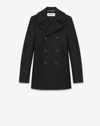 SAINT LAURENT Coats D double breasted caban jacket in black virgin wool f