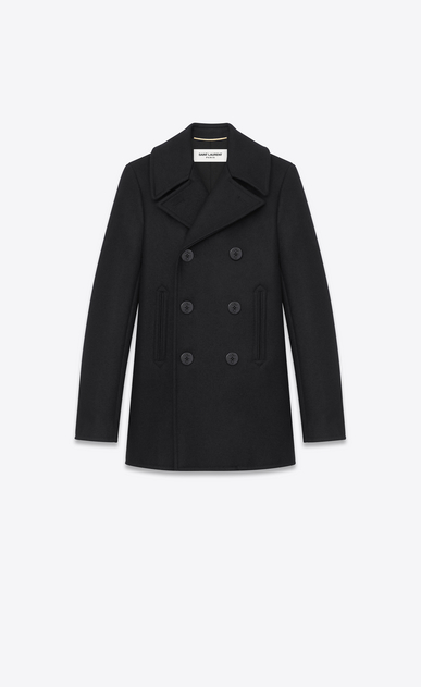 SAINT LAURENT Coats D double breasted caban jacket in black virgin wool a_V4