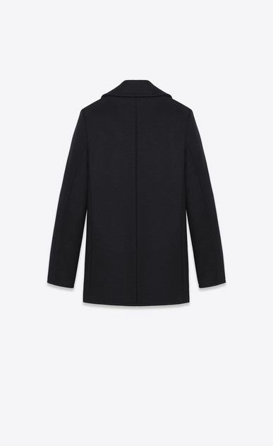 SAINT LAURENT Coats D double breasted caban jacket in black virgin wool b_V4