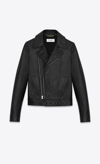 SAINT LAURENT Leather jacket D motorcycle slouch jacket in black leather a_V4