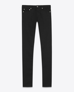 SAINT LAURENT Pantalone Denim D jeans skinny original a vita bassa neri in denim lavato stretch f