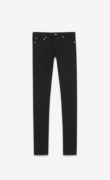 SAINT LAURENT Skinny fit D original low waisted skinny jean in black rinse stretch denim a_V4