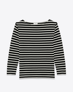 SAINT LAURENT T-Shirt and Jersey D CLASSIC MARINIÈRE LONG SLEEVE TOP IN Black and IVORY STRIPED COTTON JERSEY f