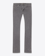SAINT LAURENT Slim fit U Original Low Waisted Slim Jean in Dark Grey Stretch Denim f