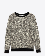 SAINT LAURENT Knitwear Tops U Crewneck Sweater in Ivory and Black Leopard Mohair, Polyamide, Viscose and Polyester Jacquard f