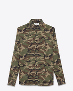 SAINT LAURENT Casual Shirts U Signature DYLAN collar Shirt in Green, Brown and Black Camouflage Printed Cotton Voile f
