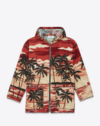 Hooded Baja Cardigan in Red, Yellow and Black Palms at Sunset Woven Cotton, Polyester and Acrylic