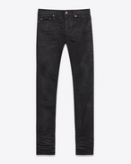 SAINT LAURENT Slim fit U Original Low Waisted Skinny Jean in Light Coated Black Stretch Denim f