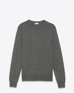 SAINT LAURENT Cashmere Tops U Classic SAINT LAURENT Crewneck Sweater in Grey Cashmere f