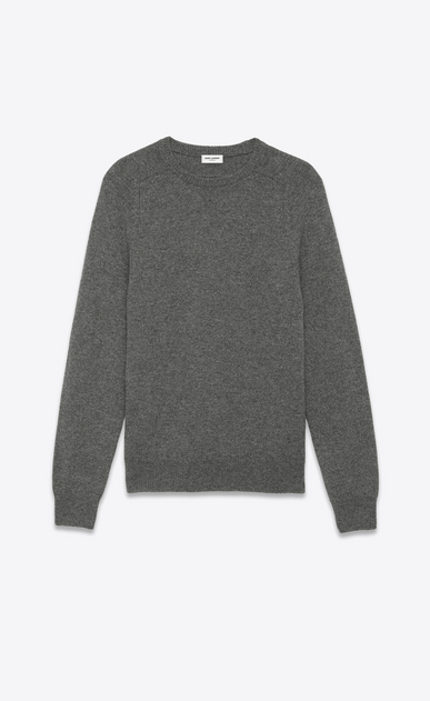 SAINT LAURENT Cashmere Tops U Classic SAINT LAURENT Crewneck Sweater in Grey Cashmere a_V4