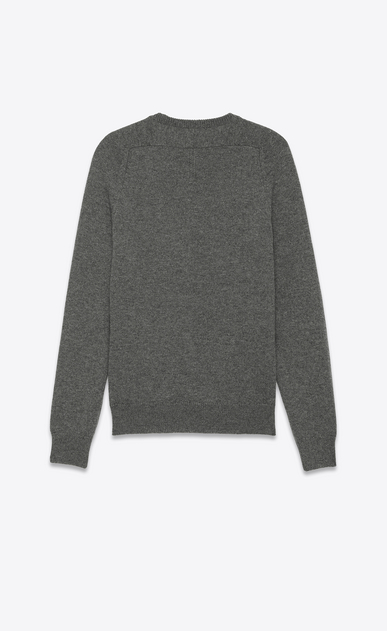 SAINT LAURENT Cashmere Tops U Classic SAINT LAURENT Crewneck Sweater in Grey Cashmere b_V4