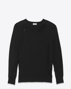 SAINT LAURENT Knitwear Tops U Grunge Crewneck Sweater in Black Cotton and Acrylic f