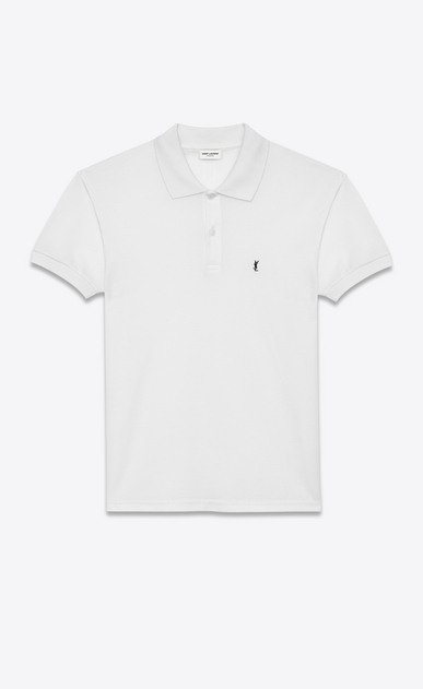SAINT LAURENT Polos U CLASSIC POLO SHIRT IN White PIQUÉ COTTON a_V4