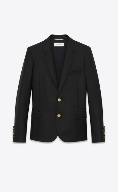 SAINT LAURENT Blazer Jacket D CLASSIC BLAZER IN Black virgin WOOL GABARDINE a_V4