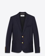 SAINT LAURENT Blazer Jacket D CLASSIC SINGLE-BREASTED JACKET IN Navy Blue WOOL GABARDINE f