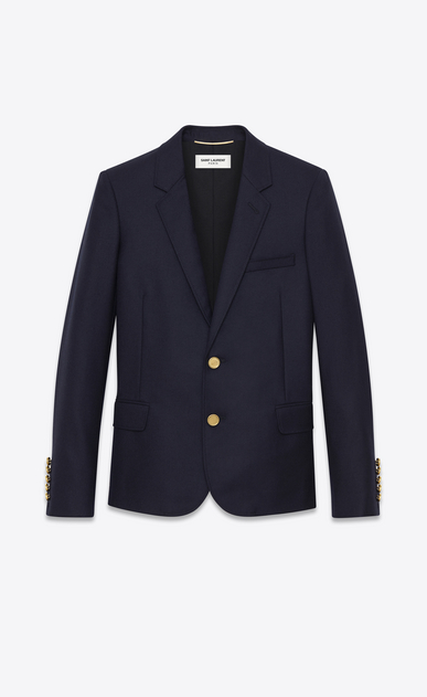 SAINT LAURENT Blazer Jacket D CLASSIC SINGLE-BREASTED JACKET IN Navy Blue WOOL GABARDINE a_V4