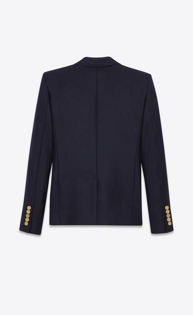 SAINT LAURENT Blazer D Klassische einreihige Jacke in marineblauem Woll Gabardine b_V4