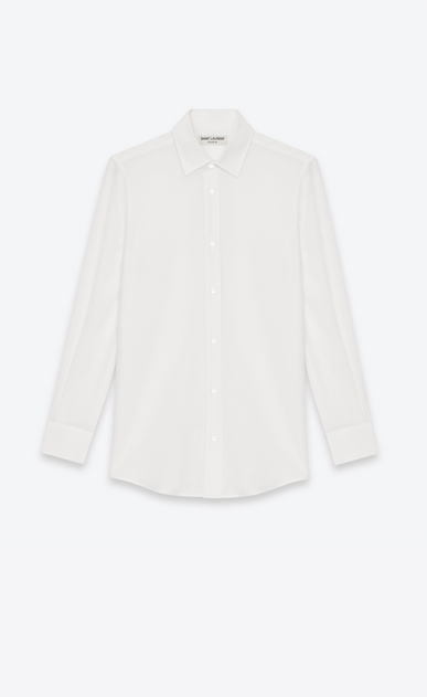 SAINT LAURENT Classic Shirts Woman PARIS COLLAR SHIRT IN White Silk CRÊPE a_V4
