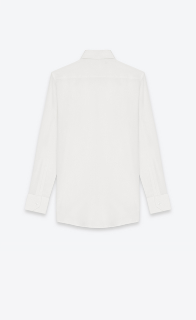 SAINT LAURENT Classic Shirts Woman PARIS COLLAR SHIRT IN White Silk CRÊPE b_V4