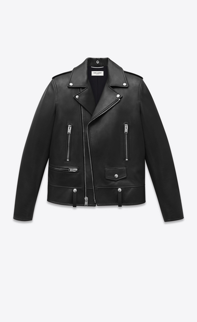 SAINT LAURENT Leather jacket Man saint laurent motorcycle jacket in lambskin a_V4