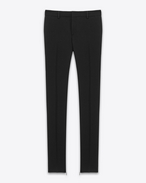 SAINT LAURENT Classic Pant D Signature Low Waisted Skinny Trouser in Black Wool Gabardine f