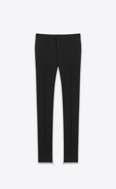 SAINT LAURENT Classic Pant D Signature Low Waisted Skinny Trouser in Black Wool Gabardine a_V4