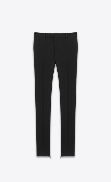 SAINT LAURENT Classic Pant D Signature Low Waisted Skinny Trouser in Black Wool Gabardine v4