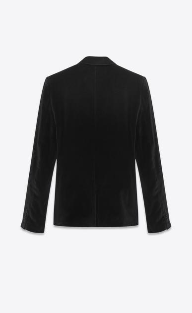 SAINT LAURENT Blazer Jacket U classic single-breasted jacket in black cotton and viscose velvet b_V4