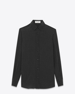 SAINT LAURENT Classic Shirts D PARIS COLLAR SHIRT IN Black and Ivory Micro Polka Dot Printed Silk f
