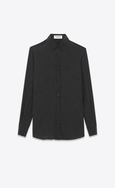 SAINT LAURENT Classic Shirts Woman PARIS COLLAR SHIRT IN Black and Ivory Micro Polka Dot Printed Silk a_V4