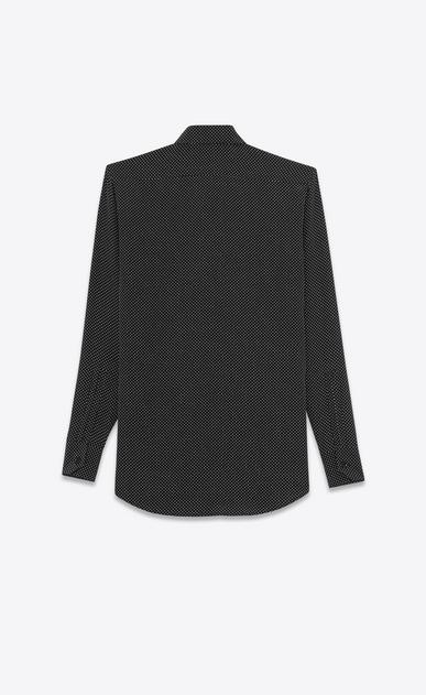 SAINT LAURENT Classic Shirts Woman PARIS COLLAR SHIRT IN Black and Ivory Micro Polka Dot Printed Silk b_V4