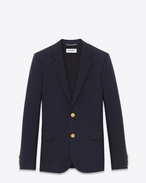 SAINT LAURENT Blazer Jacket U CLASSIC CROPPED BLAZER IN Navy Blue VIRGIN WOOL GABARDINE f