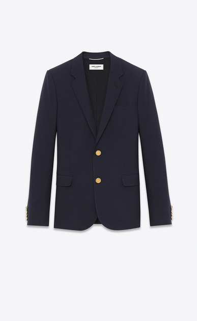 SAINT LAURENT Blazer Jacket U CLASSIC CROPPED BLAZER IN Navy Blue VIRGIN WOOL GABARDINE a_V4