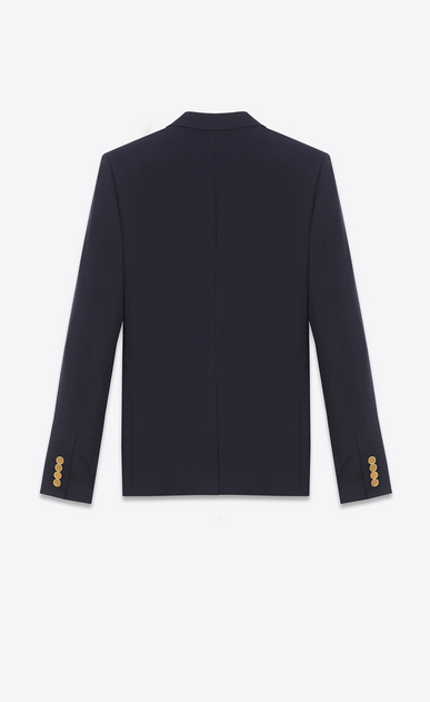 SAINT LAURENT Blazer Jacket U CLASSIC CROPPED BLAZER IN Navy Blue VIRGIN WOOL GABARDINE b_V4