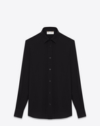 SAINT LAURENT Camicie Classiche D Camicia nera in crêpe di seta con collo Paris f