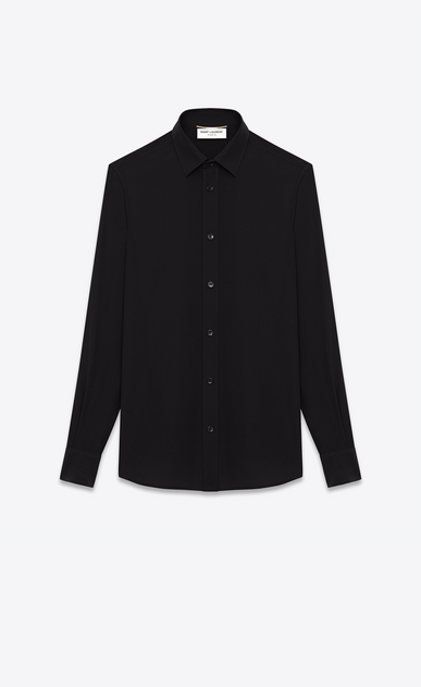 SAINT LAURENT Classic Shirts Woman PARIS COLLAR SHIRT IN Black Silk CRÊPE a_V4