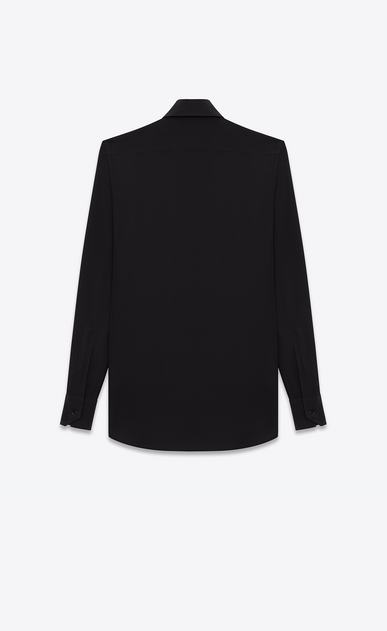 SAINT LAURENT Classic Shirts Woman PARIS COLLAR SHIRT IN Black Silk CRÊPE b_V4