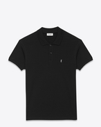 SAINT LAURENT Polos U CLASSIC POLO SHIRT IN Black PIQUÉ COTTON f