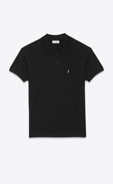 SAINT LAURENT Polos U CLASSIC POLO SHIRT IN Black PIQUÉ COTTON a_V4