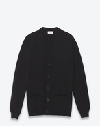 SAINT LAURENT Top in Cachemire U CARDIGAN CLASSICO NERO in Cachemire CON SCOLLO A V f