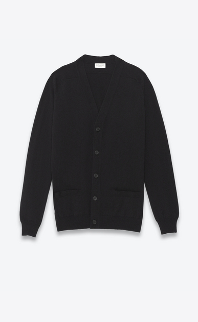 SAINT LAURENT Cashmere Tops U CLASSIC V-NECK CARDIGAN IN BLACK CAshmere a_V4