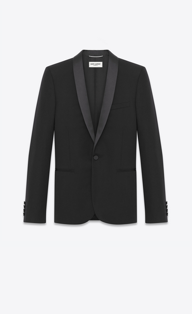 SAINT LAURENT Tuxedo Jacket U Iconic Le Smoking Jacket in Black Grain de Poudre Textured Wool a_V4