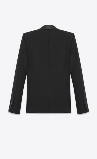 SAINT LAURENT Tuxedo Jacket Man Iconic Le Smoking Jacket in Black Grain de Poudre Textured Wool b_V4