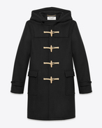 SAINT LAURENT Coats U CLASSIC DUFFLE COAT IN Black WOOL f
