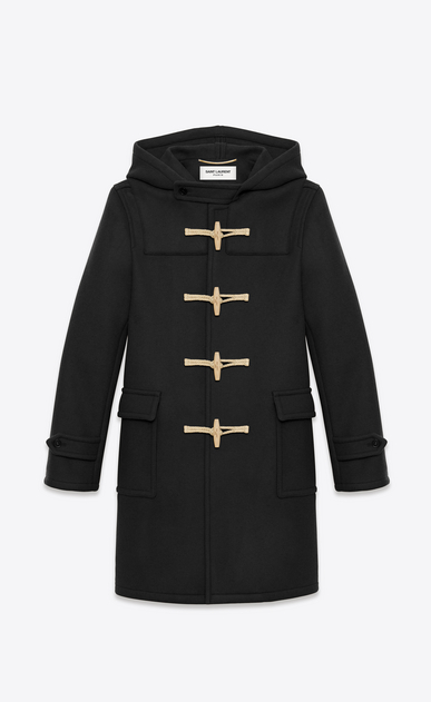 SAINT LAURENT Coats U CLASSIC DUFFLE COAT IN Black WOOL a_V4