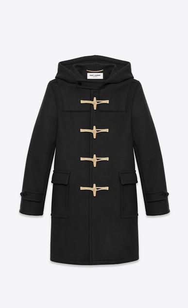 SAINT LAURENT Coats Man duffle coat in black wool a_V4