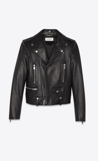 SAINT LAURENT Leather jacket Woman Classic Motorcycle Jacket in Black Leather a_V4