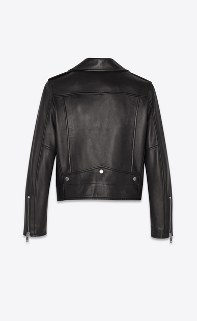 SAINT LAURENT Leather jacket Woman Classic Motorcycle Jacket in Black Leather b_V4